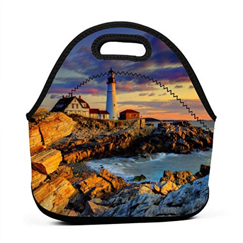 MOKIMO Portland Head Light Neoprene Lunch Tote Bag Lunch Box Case Handbag Lightweight Insulated and Reusable with Zipper for Work School Picnic Camping