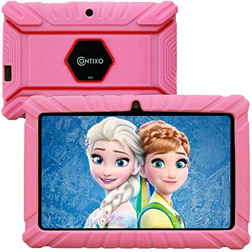 Contixo V8-2 7″ Edition Android 16GB Kids Tablet Parental Control 20+ Learning Education Apps Toy Tablet for Kids Pre-Installed Looney Tunes Content WiFi Camera Best Gift(Pink)