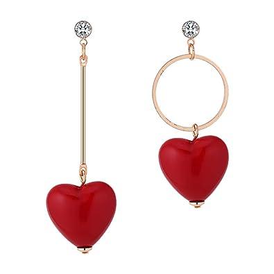 d79dd0573498 Demarkt Pendientes Asimétricos en Forma de Corazón Rojo Pendientes de Aro  Mujer Aretes de los Copos de Muchachas 1Par