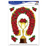 Beistle 57204 Horseshoe with Roses Peel 'N Place, 12-Inch by 17-Inch Sheet