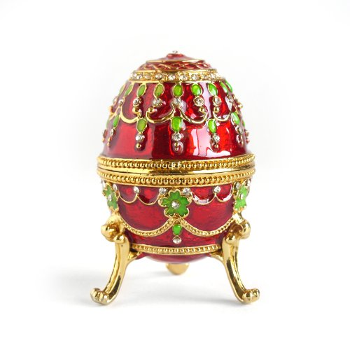Apropos Hand- Painted Rich Red Vintage Style Faberge Egg with Gold Finish, Rhinestones, Enamel Jewelry Trinket ()