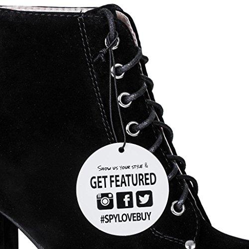 SPYLOVEBUY REMIX Stiefeletten Ankle Boots Schuhe Blockabsatz Plateau Schnür Schwarz - Synthetik Wildleder