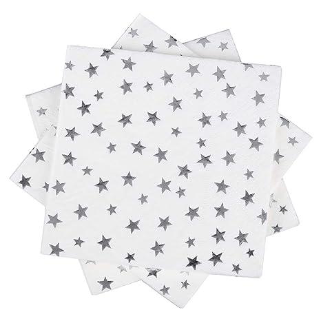 Amazon.com: Servilletas de papel blanco y dorado de 6.5 in y ...