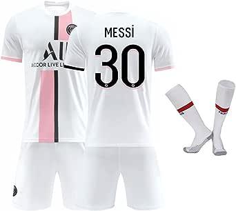 Messi PSG Nr.30 Tricot - Lionel Messi Paris Saint Germain 2021-2022 Home Away Jersey Set (White Jersey/Shorts/Sock