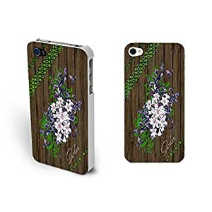 Personalized Elegant White Blooming Flowers Design Hard Wood Print Iphone 4 4s Case Cover for Women ,Light Black (white)