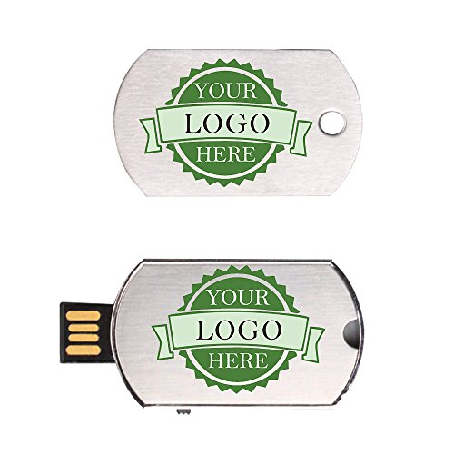 Custom Logo USB Flash Drive Dog Tag Necklace Metal Pendrive Memory Stick 50 Bulk Pack (2GB) by Generic