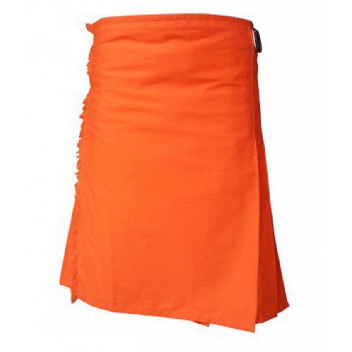 Orange Moden Tartan Style Utility Kilt For Men (36'')