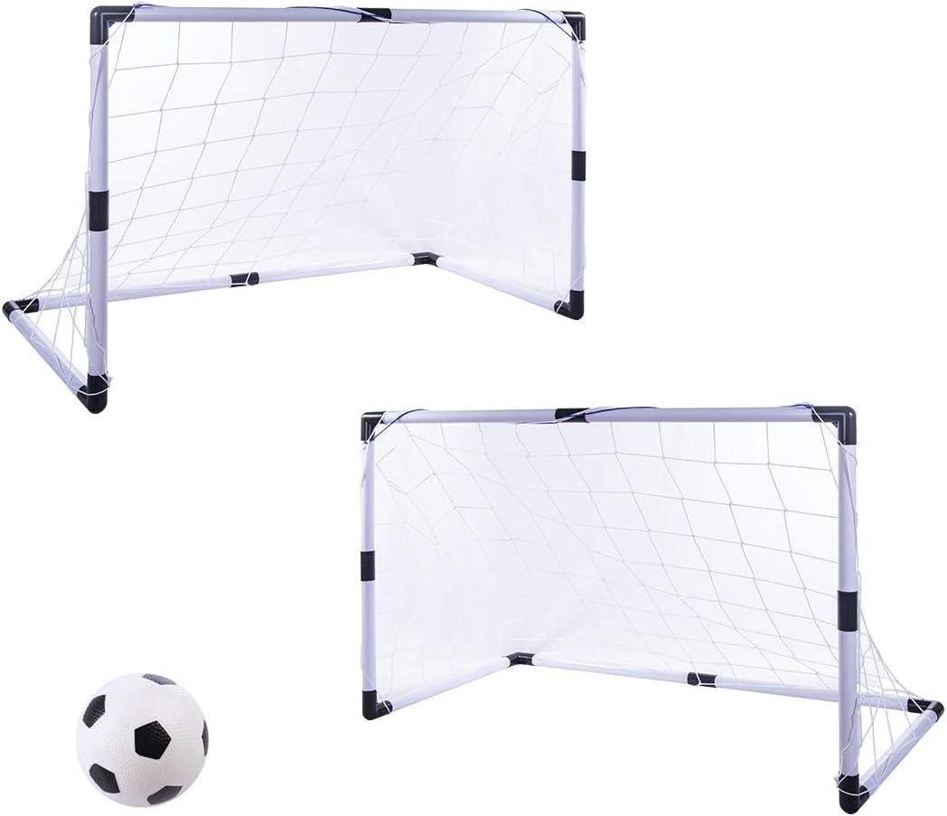 Searchyou - 2Pcs Portería fútbol Juego de portería de fútbol para niños, 92x61x48cm