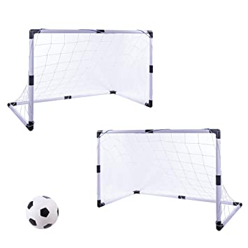 aed85d27c LVPY 2 x Football Soccer Goals Posts with Nets Pegs Ball Pump Kids  Childrens Fun Small