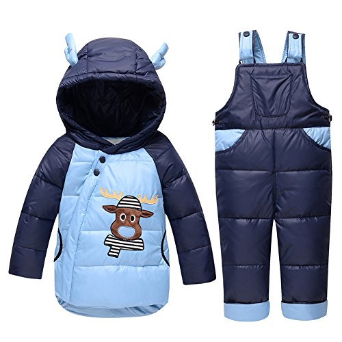 (LSERVER Cartoon Baby Boy/Girl Snowsuit Winter Baby Clothing Set Duck Down Hooded Jacket +Bib Pants 2 Pieces Set)