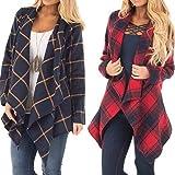 Faionny Womens Lapel Jacket Plaid Cardigan Coat