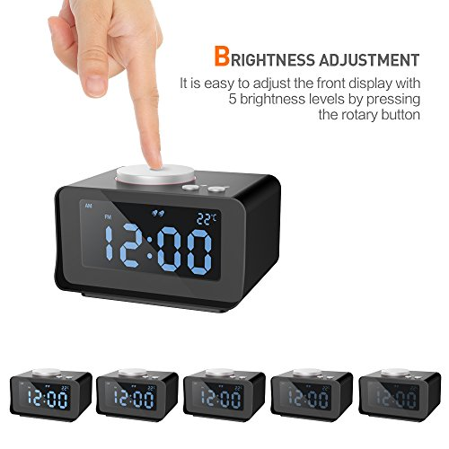 SROCKER Alarm Clock FM Radio, Dual USB Charger, Indoor Thermometer, Snooze Function, AUX IN with 5 Levels Brightness, Battery Backup