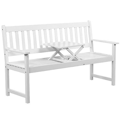 Amazing Amazon Com Skb Family Garden Bench With Pop Up Table Acacia Inzonedesignstudio Interior Chair Design Inzonedesignstudiocom