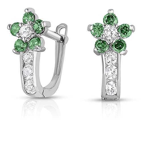 - Girls 925 Sterling Silver Flower Huggie Earrings Cubic Zirconia and Simulated Birthstones (May)