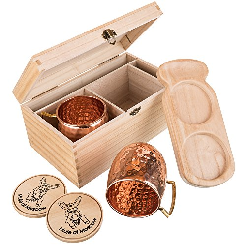 Mule of Moscow Copper Mug Gift Set Includes 2 Coasters and 2x 18oz Mugs, Wood Tray and Wooden Box Kit. Great Gifts for Men and Women