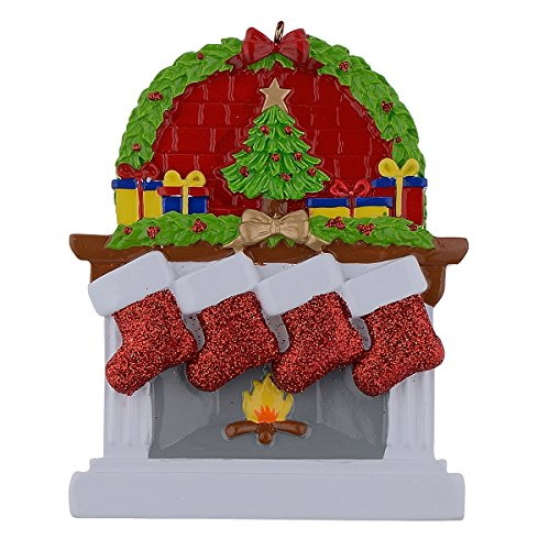 WorldWide Personalized Fireplace Stockings Family Ornaments of 4