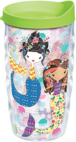 Tervis 1223036 Mermaid Tumbler with Wrap and Lime Green Lid 10oz Wavy, Clear