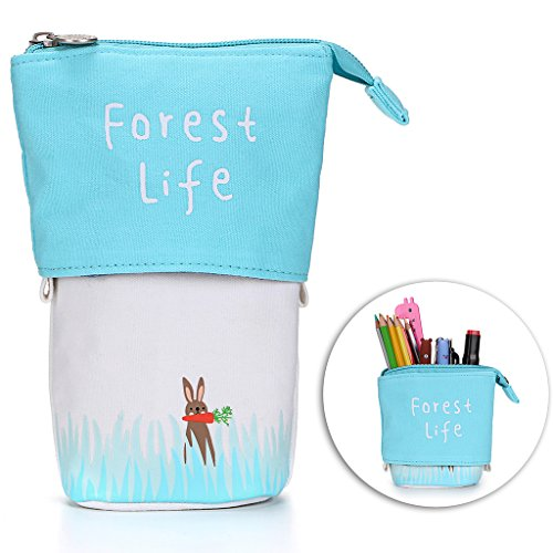 n Pencil Case- Canvas Zipper Pencil Holder Pen Organizer Stationery Pouch Bag for Students Boys and Girls(Blue Rabbit) ()