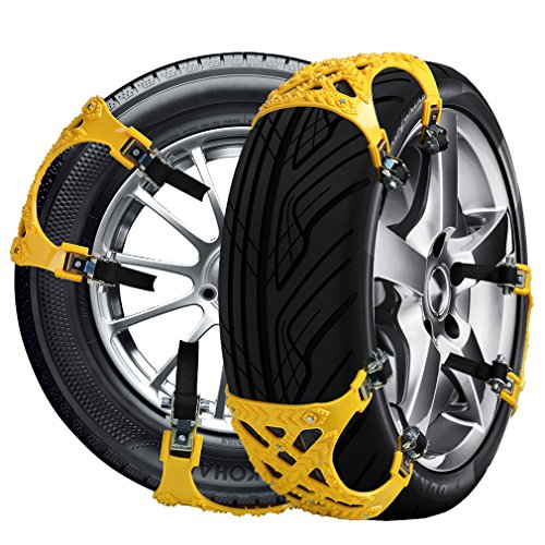 Car Tire Chains Anti-Slip Snow Chains Ice Chains Cable Traction Mud Chains Slush Chains Snow Tire Chains All Season Tire Anti-Slip Chains for Cars 6PCs for Tire Width 165-265mm/6.5-10.4'' by Baabyoo