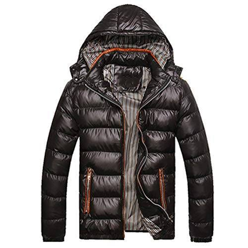 Solid Hooded Men's Winter Jackets Casual Parkas Men Coats Thick Thermal Shiny Coats,Orange,L