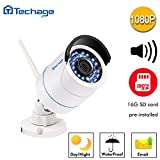 [Connect-to-Your-Own-WIFI Camera]Techage HD 1080P WIFI Audio IP Camera 2.0MP Waterproof IP66 Nignt Vision Outdoor Security Camera Motion Detection With SD Card Slot (16G SD Card)
