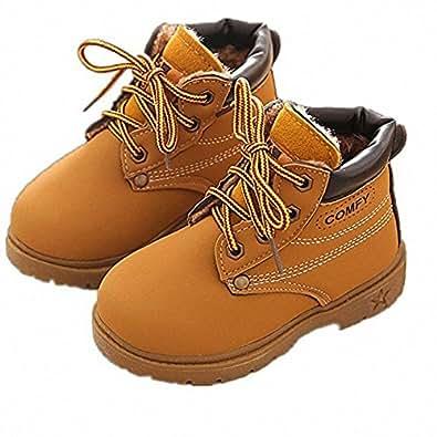 BenSports Botas de Nieve para niños, Botas Calientes de Inglaterra Martin Botas de Invierno Zapatos Suela de Goma, niños niñas (Reino Unido 4 – 13), Color Amarillo, Talla 25 EU