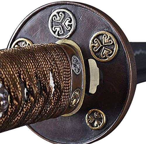 Handmade Sword - Fully Practical Samurai Katana Sword, 1045 Carbon Steel, Hand Forged Heat Tempered, Full Tang, Sharp, Copper Tsuba, Red Scabbard with Bubble Patern