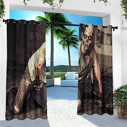 Hengshu Zombie, Thermal Insulated Water Repellent Drape for Balcony,Halloween Scary Dead Man in The Old Building with Bloody Head Nightmare Theme, W108 x L108 Inch, Grey Mint Peach -