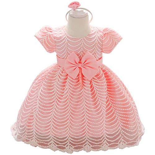 Baby Lace Flower Gown Baptism Clothes Newborn Kids Girls Birthday Infant Party Dresses Costume Pink -