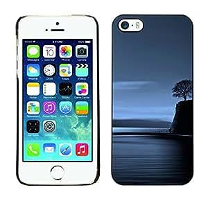 For Apple iPhone 5 / iPhone 5S Case , Lonely Tree Blue Ocean Night Deep - Diseño Patrón Teléfono Caso Cubierta Case Bumper Duro Protección Case Cover Funda