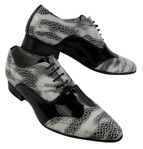 Hombres patente italiana brillante serpiente cuero Zapatos atados negro marrón gris LewBAdd3PA
