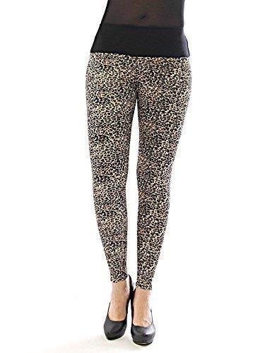 Leggings femmes longue haute couleur Pantalon opaque léopard de Leo Leggings tier-muster - leopard-braun-6, S