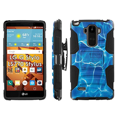LG G Stylo LS770 H631 Phone Cover, Water Ripples- Blitz Hybrid Armor Phone Case for [LG G Stylo LS770 H631] with [Kickstand and Holster] by Mobiflare