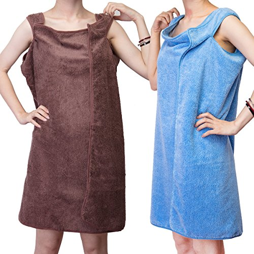DODOING 2 Pack Microfiber Fabric Women Bath Towel Wearable B