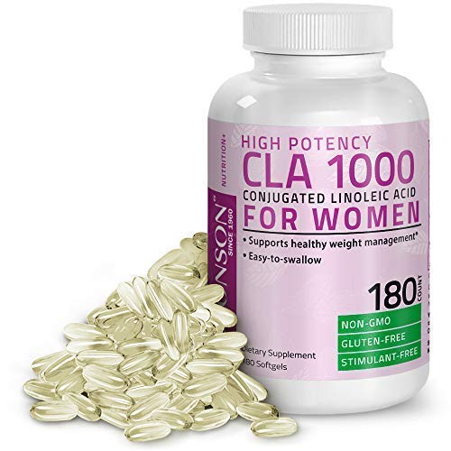 CLA for Women 1000 mg High Potency, Non-GMO Conjugated Linoleic Acid from Safflower Oil, Gluten Free, Stimulant Free, Easy to Swallow, 180 Softgels
