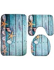 مجموعة اغطية خاصة بالمرحاض مؤلفة من 3 قطع بنقوش محيط تضم غطاء مرحاض وبساط وحصيرة مانعة للانزلاق