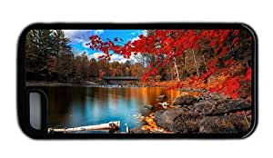 Hipster free shipping iPhone 5C cover Autumn Forest Scenery Black for Apple iPhone 5C