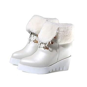 HEmei Botines para Mujeres, Zapatos de cuña con Fondo Grueso, pequeños Zapatos Blancos,