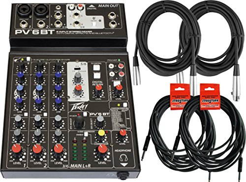 Peavey PV 6 BT 4-Channel Bluetooth Mixer w/ 4 Cables by Peavey
