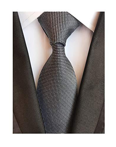 Men's White Black Micro Check Ties Long Regular Wedding Necktie for Young Boys