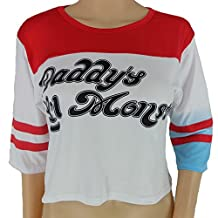 KUFV Women's Harley Quinn Daddy's Lil Monster 3/4 Sleeve Baseball Shirt