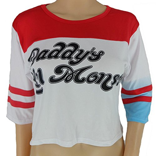 Merdoly Women's Suicide Squad Harley Quinn Daddy's Lil Monster Girls T-Shirt