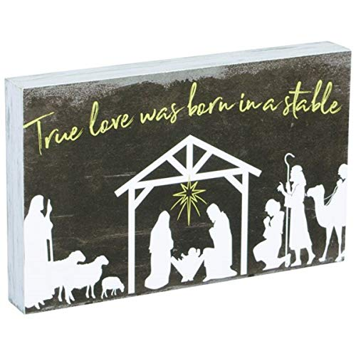 (True Love was Born in a Stable Christmas Nativity Scene Hanging Wall or Table Sign, 8 Inch)