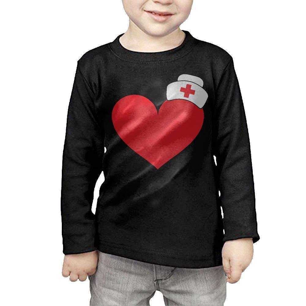 Baby Boys Kids Nurse Cap On Heart ComfortSoft Long Sleeve T-Shirt