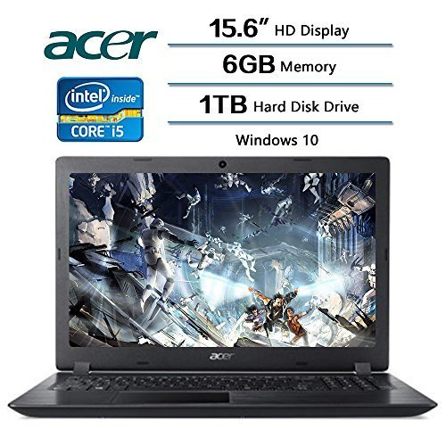 Acer Aspire 3 Laptop 15.6 inch HD Display, Intel Core i5-7200U 2.5 GHz, 6 GB DDR4 SDRAM Memory, 1 TB Hard Disk Drive, Intel HD Graphics 620, Windows 10