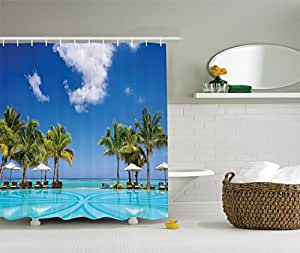 Ambesonne coastal decor collection tropical Swimming pool shower curtain