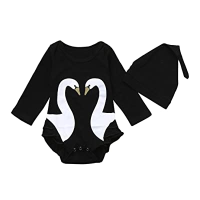 Honhui 2pcs Toddler Baby Girls Boys Cute Swan Long Sleeve Romper+Hat Clothes Set