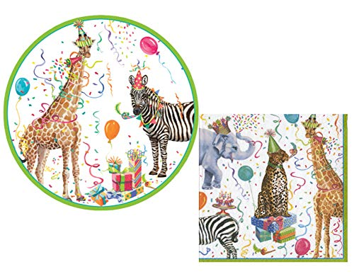 Party Animals Party Supply Pack! Zoo Animal Party Themed Bundle Includes Plates and Napkins for 16 Guests