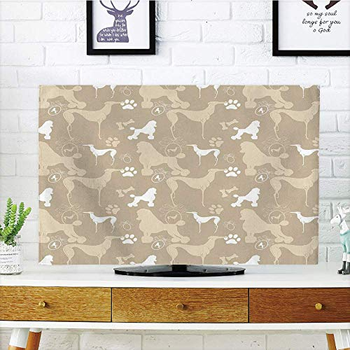 Pet Polypropylene Leash (Premium LCD TV Cover Lovely,Dog Lover,Pet Animals Accessories Leash Paw Print Bone Ornamental Abstract Illustration,Tan White,Diversified Compatible 55