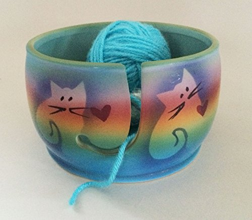 Kitty Cat Yarn Bowl by Award-Winning Artist Judith Stiles. Handcrafted Pottery Knitting Bowl, Handmade From Durable Pottery. Gift for Knitters, Cat Lovers and Animal Lovers. Made in the (Knitters Yarn Palette)